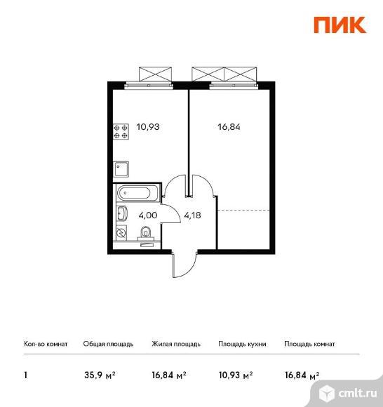 1-комнатная квартира 35,9 кв.м. Фото 1.