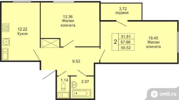 2-комнатная квартира 59,52 кв.м. Фото 1.