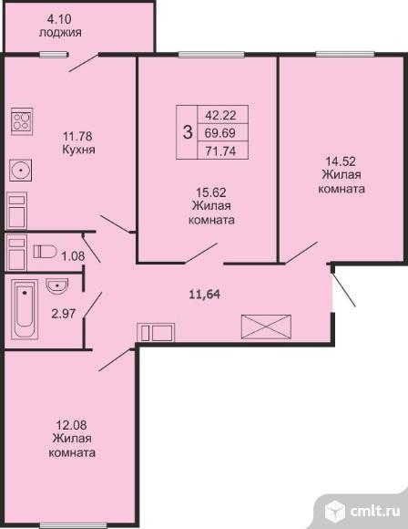 3-комнатная квартира 71,74 кв.м. Фото 1.