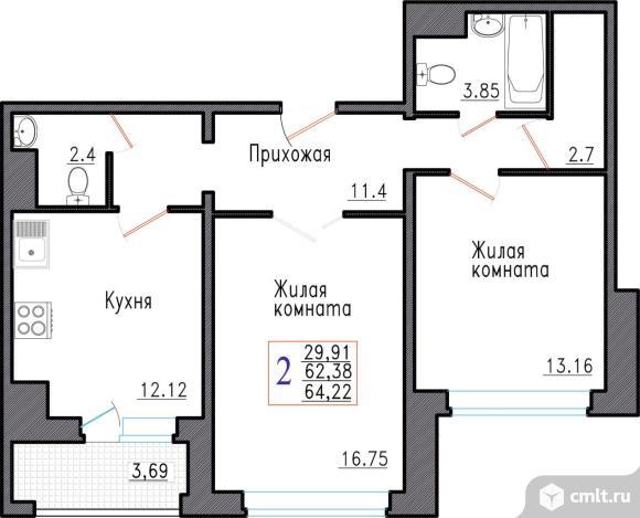 2-комнатная квартира 64,22 кв.м. Фото 1.