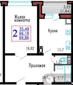2-комнатная квартира 69,86 кв.м. Фото 1.
