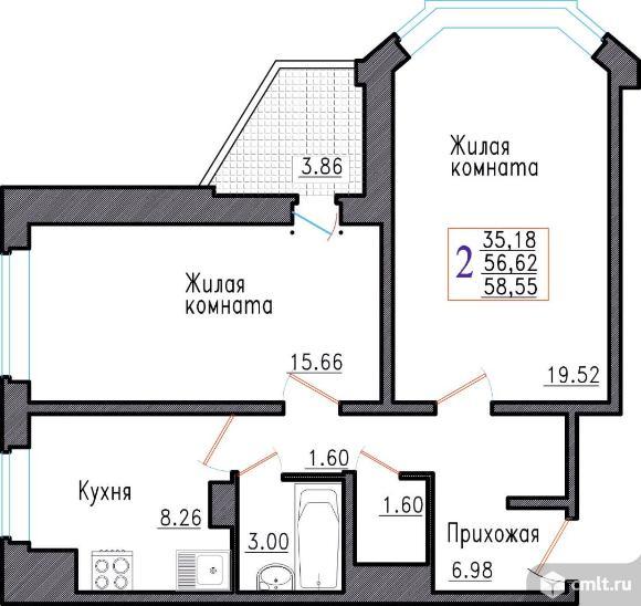 2-комнатная квартира 58,55 кв.м. Фото 1.