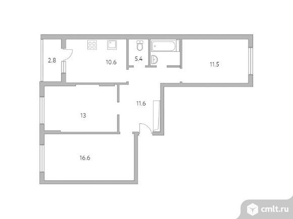 3-комнатная квартира 71,5 кв.м. Фото 1.