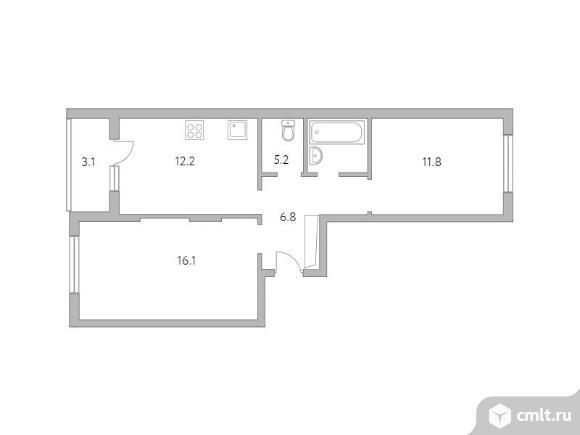 2-комнатная квартира 55,2 кв.м. Фото 1.