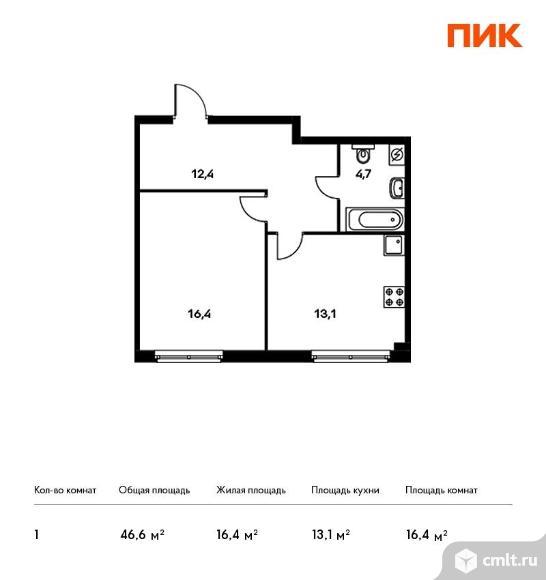 1-комнатная квартира 46,6 кв.м. Фото 1.