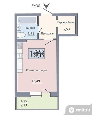Квартира - студия 28,2 м. кв.. Фото 5.