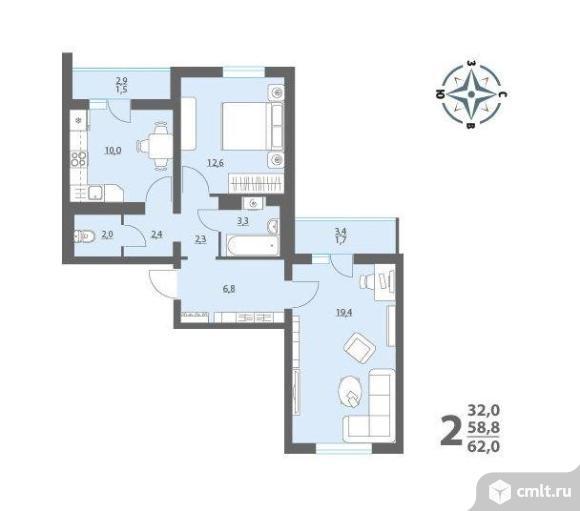 """Продается двухкомнатная квартира от подрядной организации в жк """"озерки"""". дом сдан.. Фото 1."""