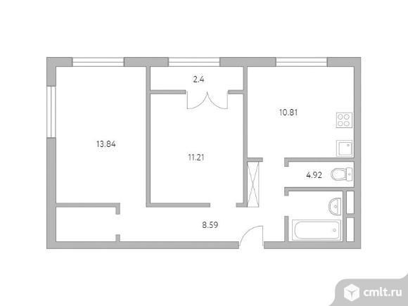2-комнатная квартира 54,22 кв.м. Фото 1.