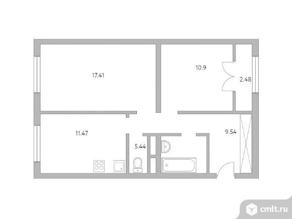 2-комнатная квартира 57,24 кв.м. Фото 1.