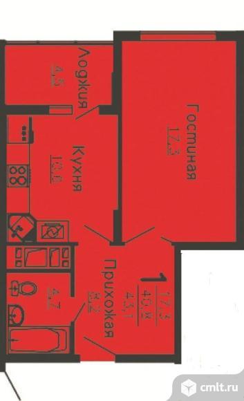 1-комнатная квартира 43,2 кв.м. Фото 8.
