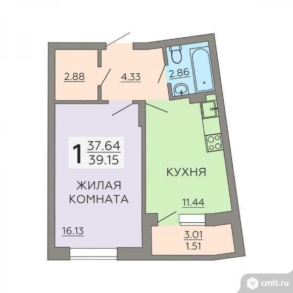 1-комнатная квартира 39,15 кв.м. Фото 1.