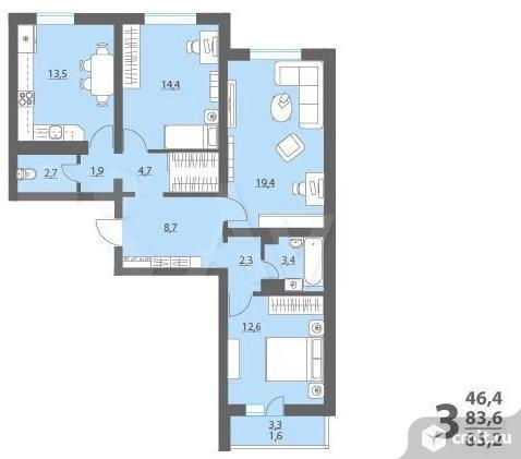 3-комнатная квартира 85,2 кв.м. Фото 1.