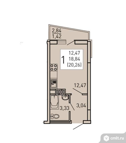 1-комнатная квартира 20,26 кв.м. Фото 1.
