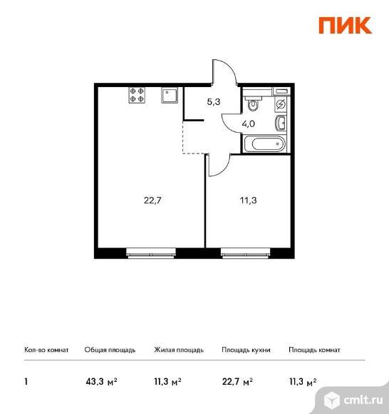 1-комнатная квартира 43,3 кв.м. Фото 1.