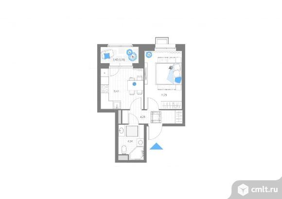1-комнатная квартира 31,28 кв.м. Фото 1.