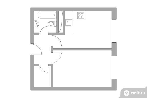 1-комнатная квартира 32,09 кв.м. Фото 1.