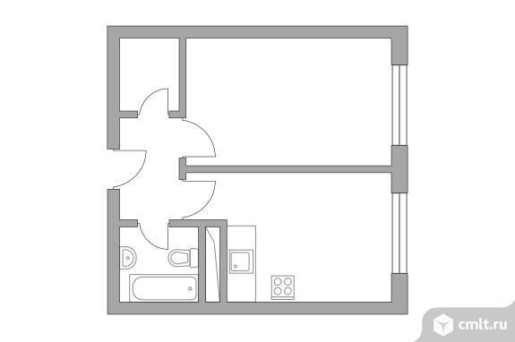 1-комнатная квартира 32,27 кв.м. Фото 1.