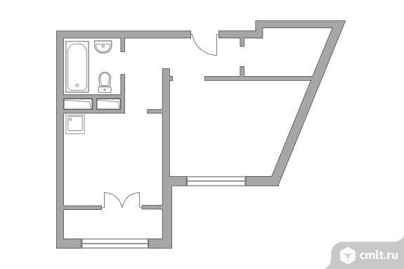 1-комнатная квартира 33,75 кв.м. Фото 1.