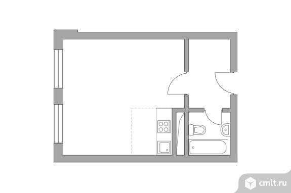 1-комнатная квартира 26,3 кв.м. Фото 1.