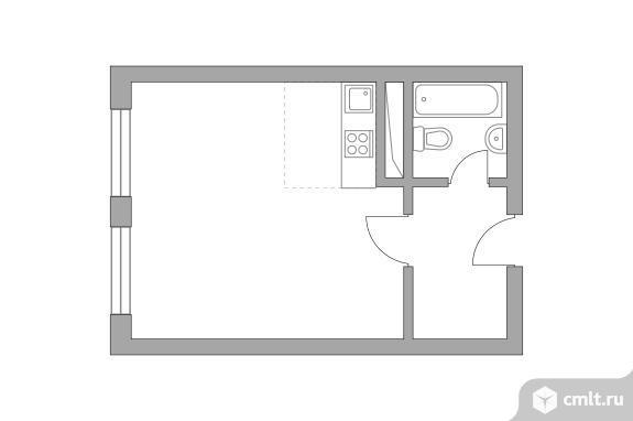 1-комнатная квартира 25,93 кв.м. Фото 1.