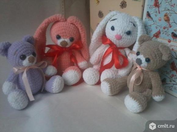 Вязанные игрушки из плюшевой пряжи.. Фото 1.