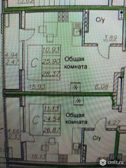 1-комнатная квартира 28,34 кв.м. Фото 1.