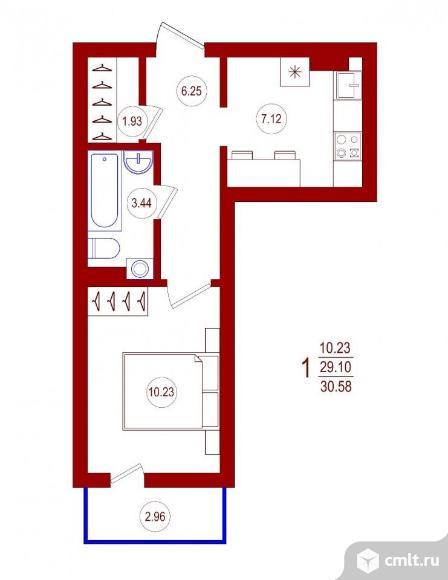 1-комнатная квартира 30,58 кв.м. Фото 1.