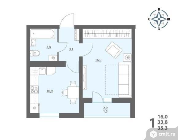 1-комнатная квартира 35,3 кв.м. Фото 1.