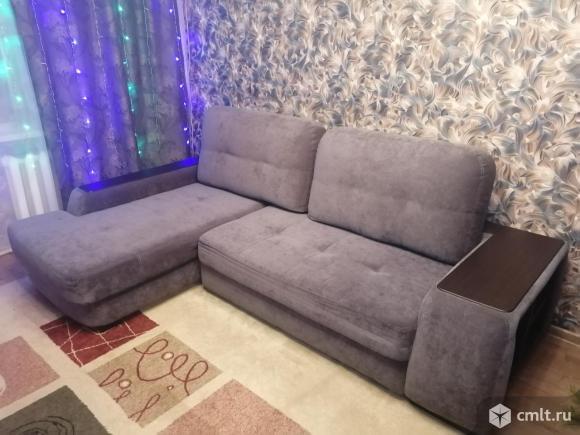 Угловой диван б/у серый микровелюр. Фото 1.