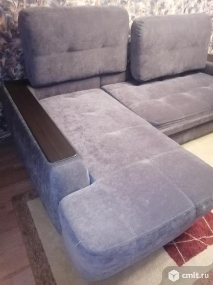Угловой диван б/у серый микровелюр. Фото 7.