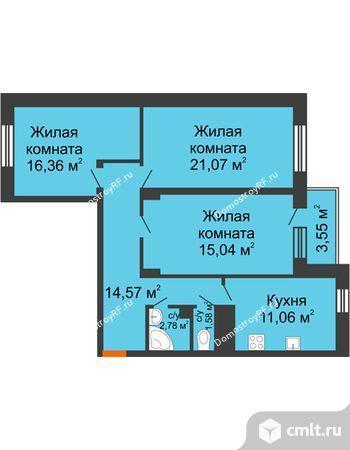 3-комнатная квартира 84 кв.м. Фото 4.