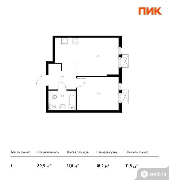 1-комнатная квартира 39,9 кв.м. Фото 1.