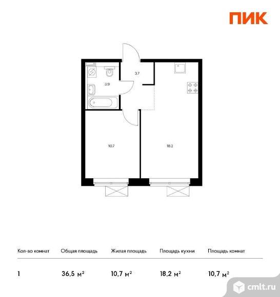 1-комнатная квартира 36,5 кв.м. Фото 1.