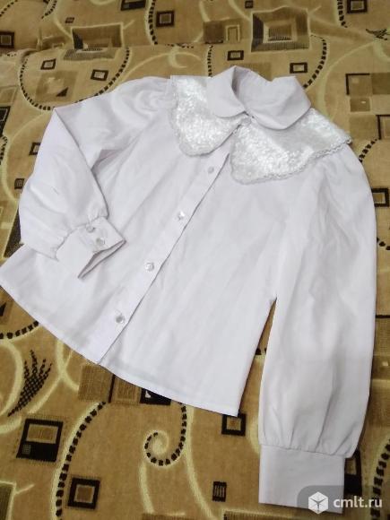 Школьные белые блузки для 1 класса. Фото 2.