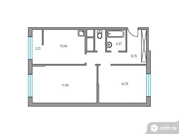 2-комнатная квартира 54,07 кв.м. Фото 1.