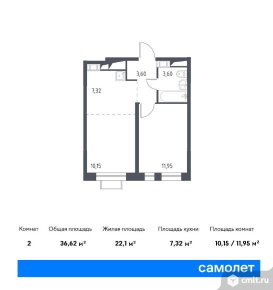 2-комнатная квартира 36,62 кв.м. Фото 1.