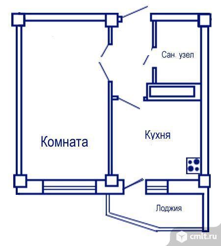 1-комнатная квартира 34,4 кв.м. Фото 5.