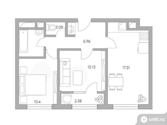 2-комнатная квартира 52,47 кв.м. Фото 1.