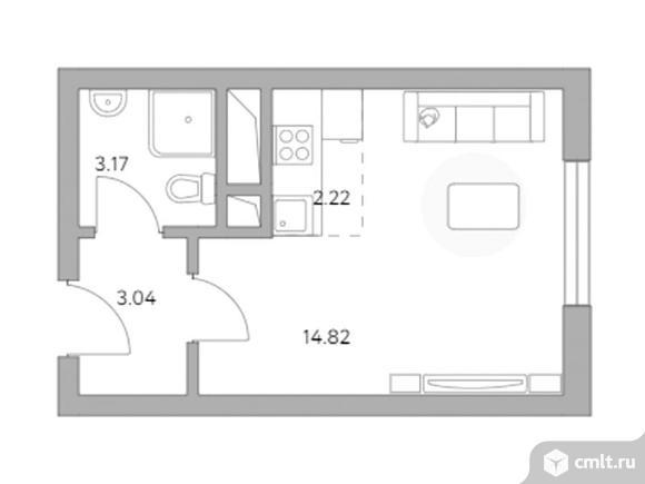 1-комнатная квартира 23,25 кв.м. Фото 1.
