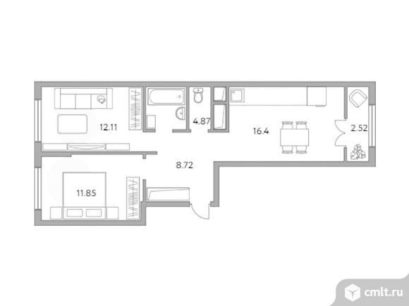 2-комнатная квартира 56,47 кв.м. Фото 1.