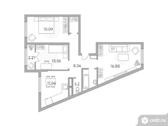 3-комнатная квартира 69,28 кв.м. Фото 1.