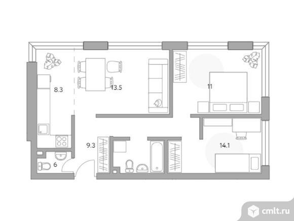 3-комнатная квартира 62,2 кв.м. Фото 1.