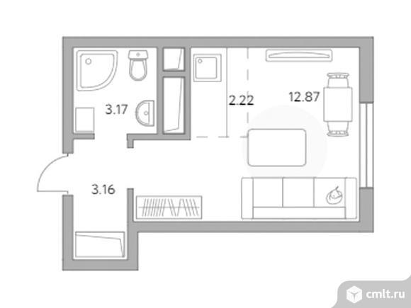 1-комнатная квартира 21,42 кв.м. Фото 1.