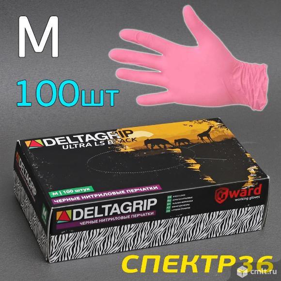 Перчатка нитриловая DeltaGRIP розовая р. M (100шт). Фото 1.
