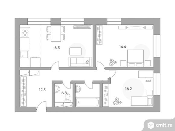 3-комнатная квартира 68,8 кв.м. Фото 1.