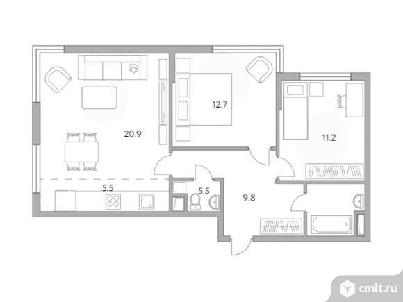 3-комнатная квартира 65,6 кв.м. Фото 1.