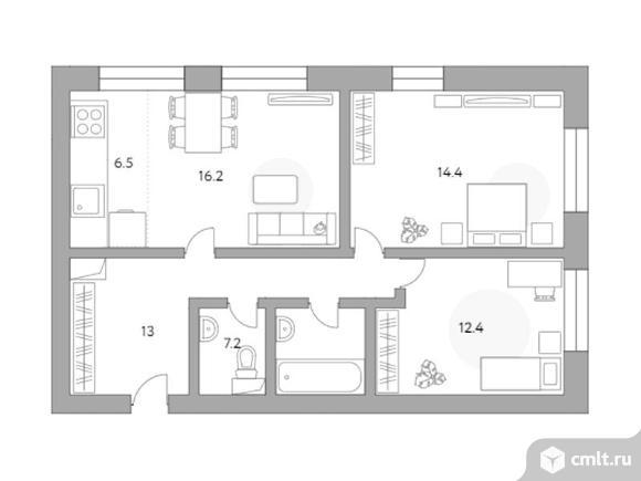 3-комнатная квартира 69,7 кв.м. Фото 1.