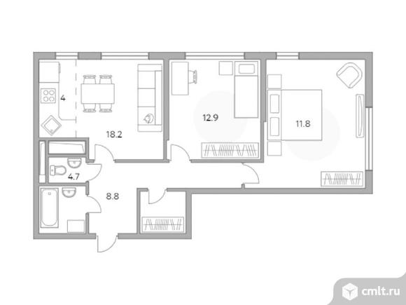 3-комнатная квартира 63,2 кв.м. Фото 1.