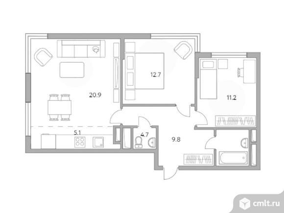 3-комнатная квартира 64,4 кв.м. Фото 1.