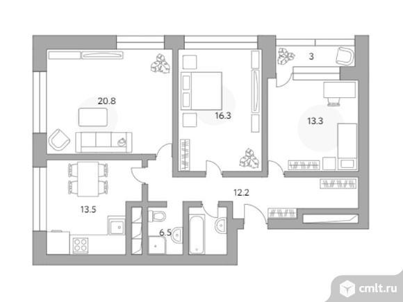 3-комнатная квартира 85,6 кв.м. Фото 1.